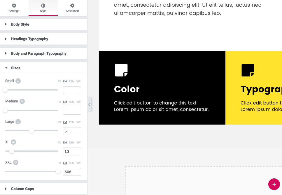 The Elementor Page Styles page showing the panel for typographic sizes