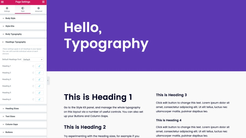 Managing typography in Elementor hello theme