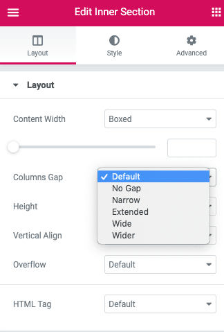 Selecting an Elementor Column gaps preset from the Columns Gap panel.